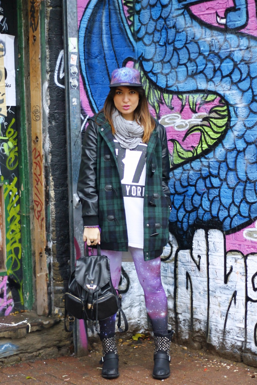 My Glamour Attitude, Brick Lane, Outfit, Look, Murales, Grunge, Tartan, Galaxy, Romwe, Primark, Londra, London, Maria Giovanna Abagnale