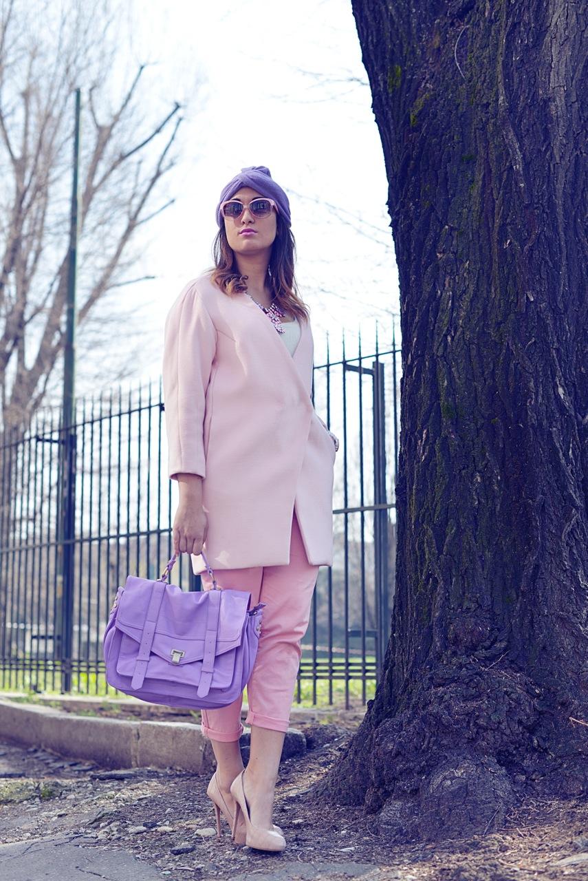 Mt glamour attitude, fashion blog, milan, milano, milan fashion week , mfw, outfit, look, pink, turbante, pink coat, rosa, cute, maria giovanna abagnale,